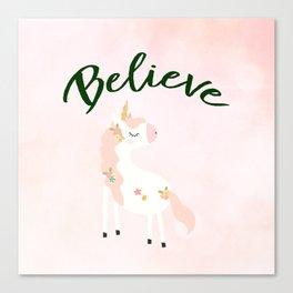 Believe Unicorn Subtle Pink Bokeh Dream Canvas Print