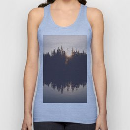 Wooded Lake Reflection  - Nature Photography Unisex Tank Top