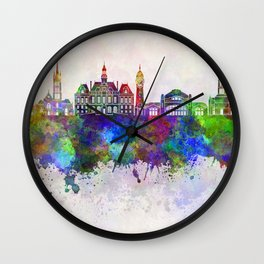 Limoges skyline in watercolor background Wall Clock