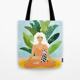 Meditation With Thy Cat #illustration #painting Tote Bag