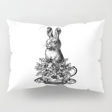 Rabbit in a Teacup | Black and White Pillow Sham