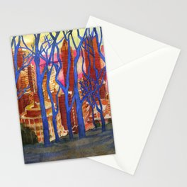 Montreal from Mont Royal through Winter Trees Stationery Cards