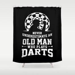 Darts Gift Old Man Play Darts Board Shower Curtain
