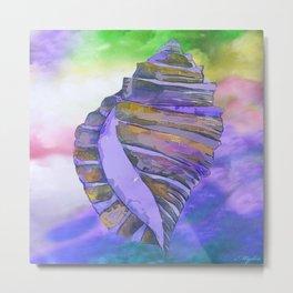 NAUTILUS CONCH SEA SHELL PURPLE IMPRESSIONS Metal Print