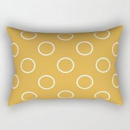 Geometric Candy Dot Circles - Golden Yellow Ochre Rectangular Pillow