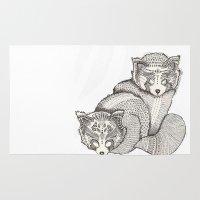 pandas Area & Throw Rugs featuring red pandas by Polkip