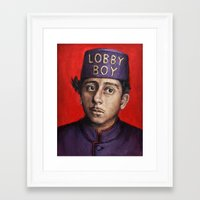 wes anderson Framed Art Prints featuring Lobby Boy / Grand Budapest Hotel / Wes Anderson by Heather Buchanan
