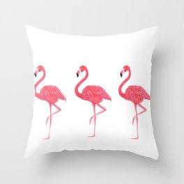 Flamingo tropical dance Throw Pillow