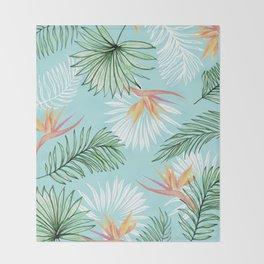 Tropic Palm, Bird of Paradise Pastel Colorful Botanical Illustration, Tropical Bohemian Jungle Decke