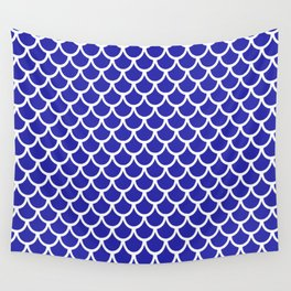Scales (White & Navy Blue Pattern) Wall Tapestry