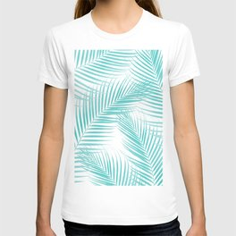 Soft Turquoise Palm Leaves Dream - Cali Summer Vibes #2 #tropical #decor #art #society6 T-shirt
