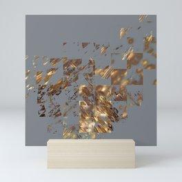 Bronze on Gray Square #abstract #society6 #decor #geometry Mini Art Print