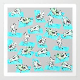 Aqua Yoga Pigs - Downward Facing Hog Art Print