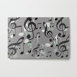 Flying Music Notes grey and white Metal Print