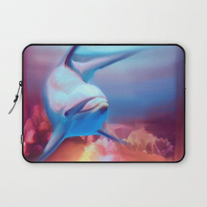 Underwater Dolphin Painting Laptop Sleeve