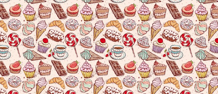 Hand drawn confectionery croissant Cupcake candy ice cream cake donut and coffee Coffee Mug