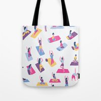 yoga Tote Bags featuring Yoga by Sara Maese