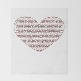 I Love You All Over My Heart Throw Blanket