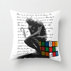 WRITER'S BLOCK the thinker Rubrix cube illustration Throw Pillow