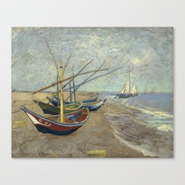 Fishing boats on the beach by Vincent Van Gogh Canvas Print