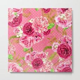 Pink & Gold Vintage Floral Pattern Metal Print