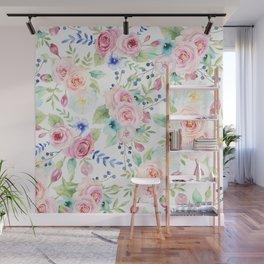 Blush pink watercolor elegant roses floral Wall Mural