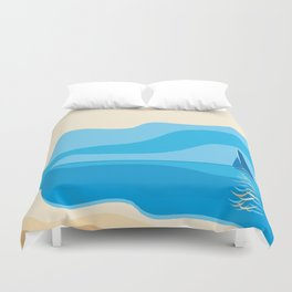 yacht in the sea Duvet Cover
