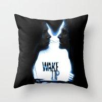 donnie darko Throw Pillows featuring Wake up.....(Donnie Darko Fanart) by Emiliano Morciano (Ateyo)