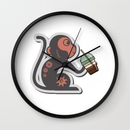 A monkey and his latte Wall Clock