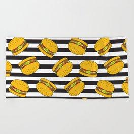 Burger Stripes By Everett Co Beach Towel