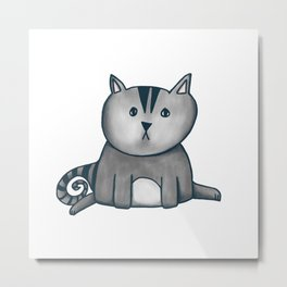 Contemplative Cat in graphite Metal Print