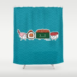 Happy Sushi Brothers rice Japanese shrimp salmon Shower Curtain