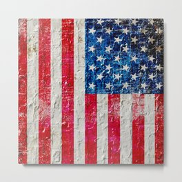 Distressed American Flag On Old Brick Wall - Horizontal Metal Print