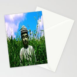 Buddha Looks Through Grass Stationery Cards