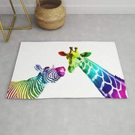 Zebra - Giraffe Rainbow Color Rug