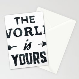 THE WORLD IS YOURS Black and White Stationery Cards