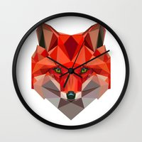 low poly Wall Clocks featuring Low poly Fox by exya