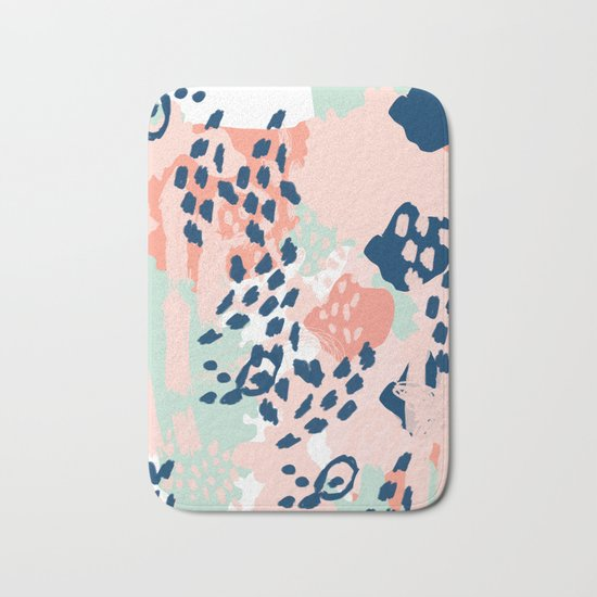 Kylie - abstract mint pastels painting boho trendy simple minimalist canvas home decor Bath Mat