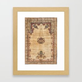 Tabriz  Antique North West Persian Silk Prayer Rug Framed Art Print