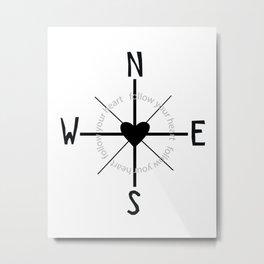 Heart Compass Metal Print