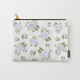 Botanical lavender white green watercolor floral Carry-All Pouch