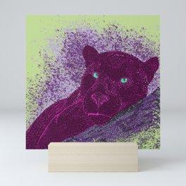 Panther on a branch - Green Mini Art Print
