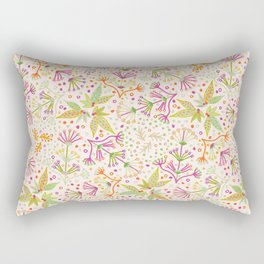 Spring Flower Meadow, Sunny Vibes in Orange, Lime & Fuchsia Pink Floral Blooms Rectangular Pillow
