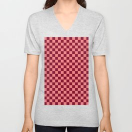 Coral Pink and Burgundy Red Checkerboard Unisex V-Neck