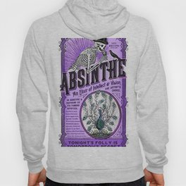 Vintage 1871 Purple Absinthe Liquor Skeleton Elixir Aperitif Cocktail Alcohol Advertisement Poster Hoody