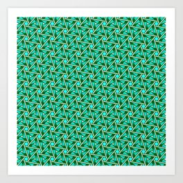 Turquoise Triangles Forest Green Hexagons on Butter Cream Yellow Southwestern Design Pattern Art Print