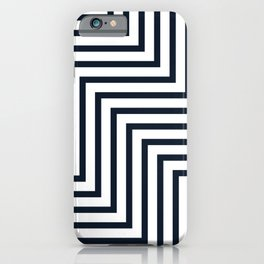 Geometric Art, Colorful Stripes, Navy and White, Abstract Art iPhone Case