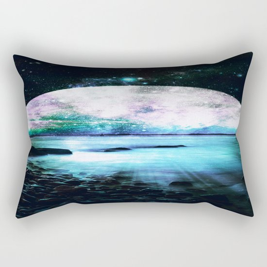 Mystic Lake Teal Violet Rectangular Pillow