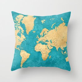 "Detailed wold map with zodiac constellations, ""Lexy"" Throw Pillow"
