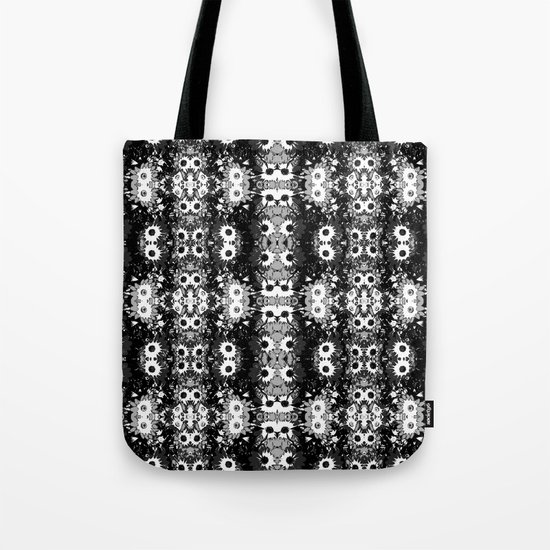 Black White Fower Girly Pattern Tote Bag